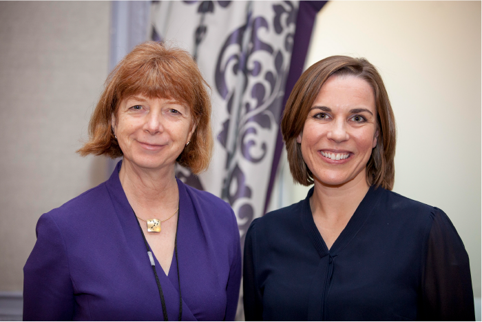 From left to right, Ruth McKernan CBE, Chief Executive, Innovate UK with Claire Williams, Deputy Team Principal of the Williams Formula One team.